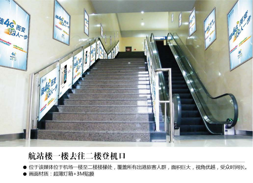 张家口机场电梯楼梯灯箱广告位